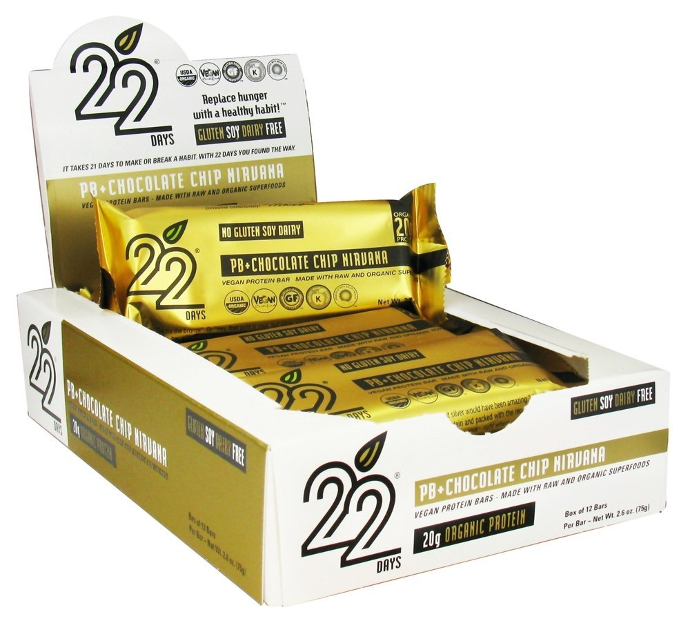 22-Days-Nutrition-Organic-20-g-Protein-Bar-PB-Peanut-Butter-+-Chocolate-Chip-Nirvana-12-Bars