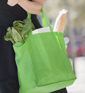 Woman with reusable bag