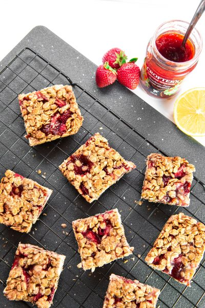 strawberry oat squares on rack