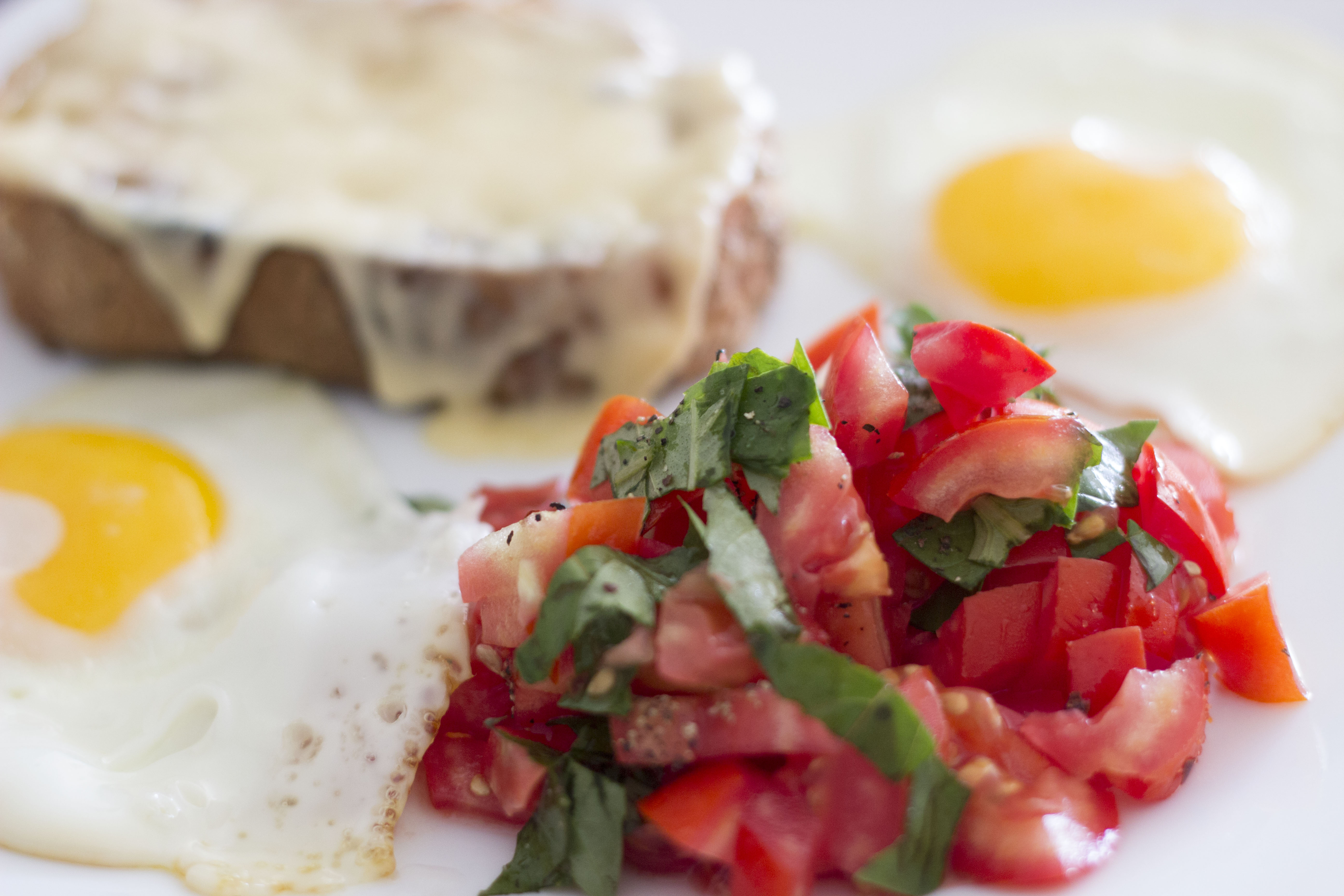 tomatoes, egg, toast
