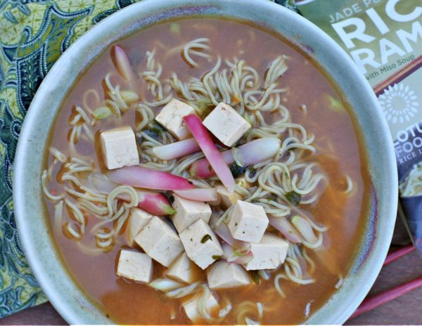 Jade Pearl Rice Ramen Noodle Soup with Radishes