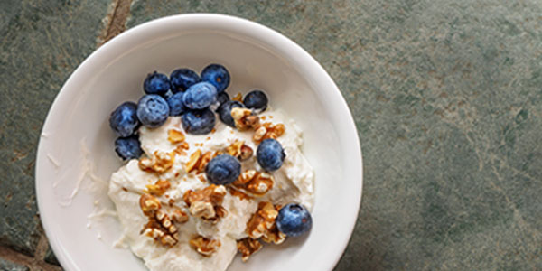 yogurt, blueberries, nuts