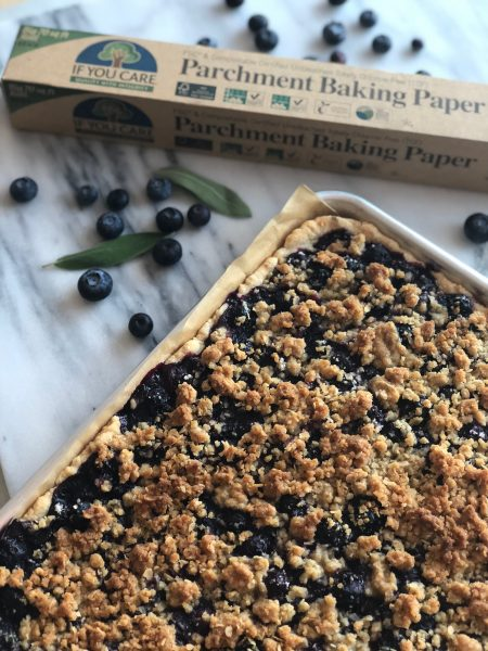 This Blueberry & Sage Sheet Pie from @IfYouCareProducts unites sweet, tangy fresh blueberries with the subtle savory flavor of sage and it's topped with a deliciously crunchy and sweet crumble.